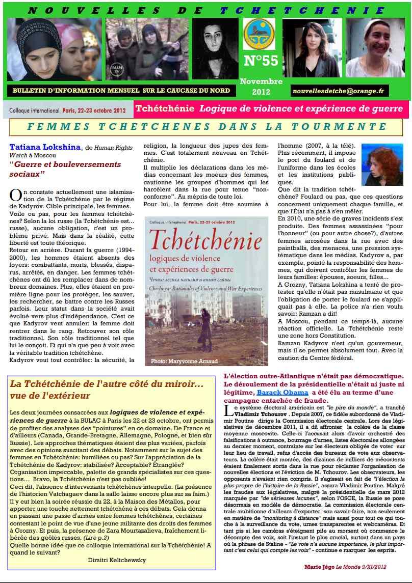 Nouvelles de Tchétchénie