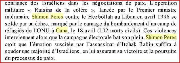 Shimon Pérès criminel de guerre à Cana