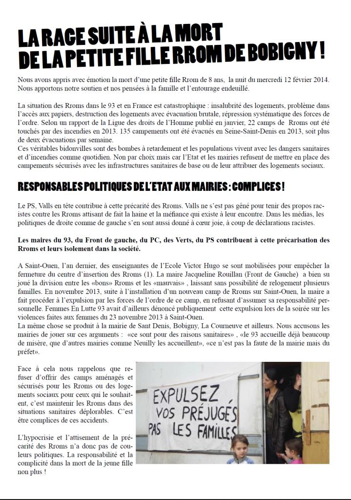 Déclaration suite à la mort de la fillette Rom de Bobigny : rage et solidarité