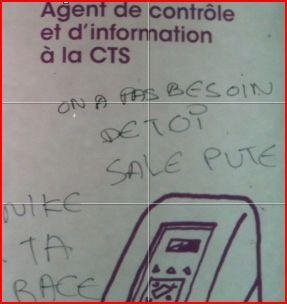 Tags racistes sur une affiche de la CTS