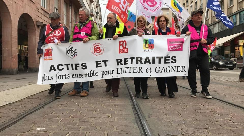 Manifestation pour les retraites à Strasbourg