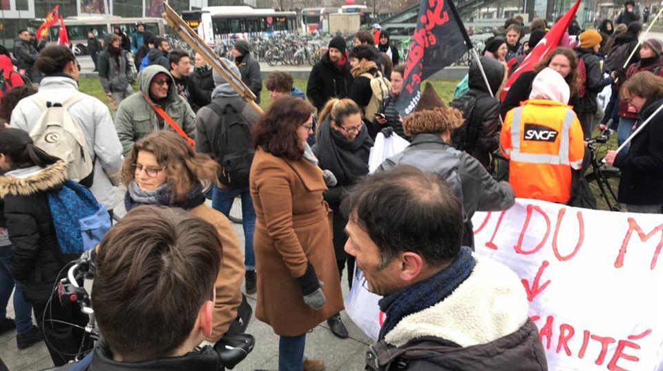 250 à 300 manifestants à Strasbourg avec les cheminots