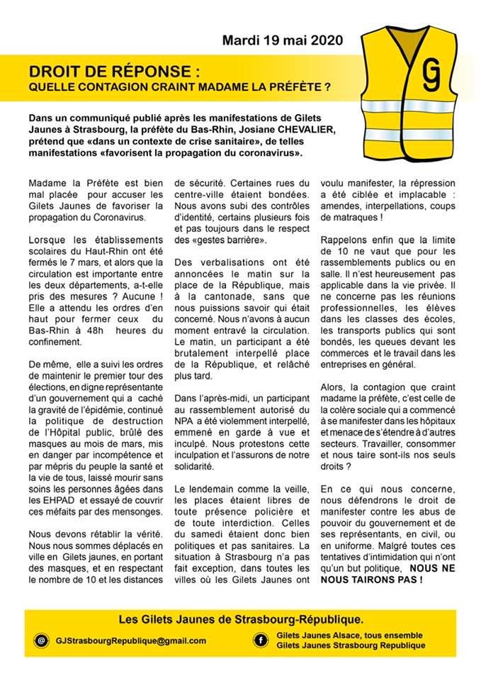 Communiqué de presse des Gilets Jaunes Strasbourg République, ignoré par les Dernières Nouvelles d'Alsace