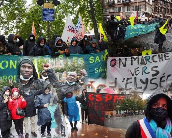 Les Sans Papiers  d'Alsace manifestent à Strasbourg avec le Collectif de Montreuil